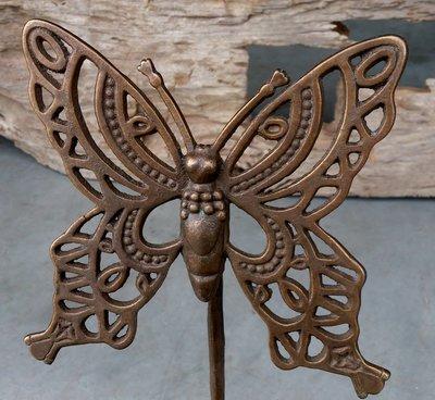 tuinprikker vlinder brons L 19 x 19 cm