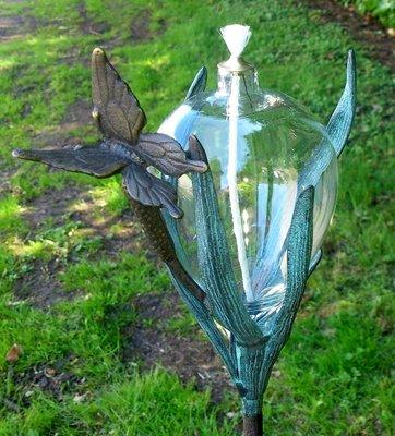 olielamp met vlinder glas en brons