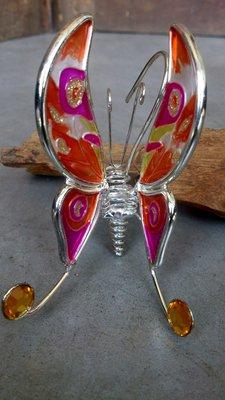 hangdecoratie vlinder glas kies uit 2 kleuren
