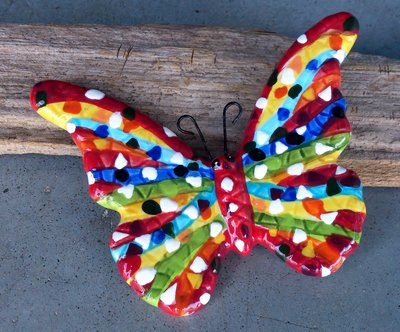 magneet vlinder keramiek 9x7cm