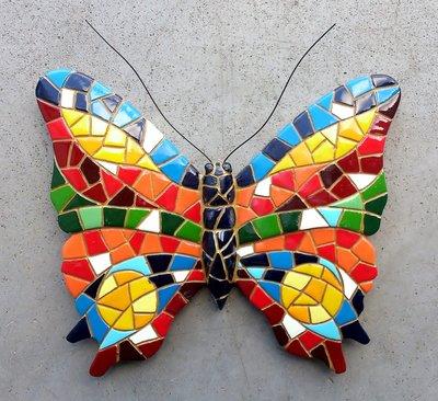 wanddeco 16 cm vlinder mozaiek 30232
