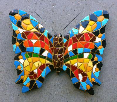 wanddeco 16 cm vlinder mozaiek 30294