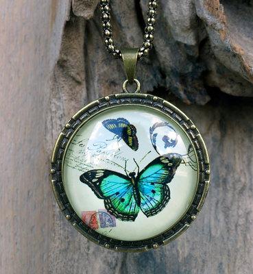 ketting hanger vlinder blauw