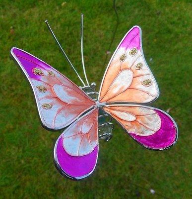 tuinprikker vlindertje oranje-roze 8 x 8 cm