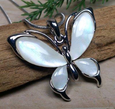 ketting hanger vlinder parelmoer