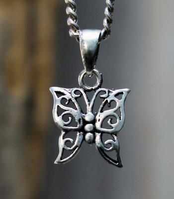 hanger vlinder zilver 13 x 16 mm