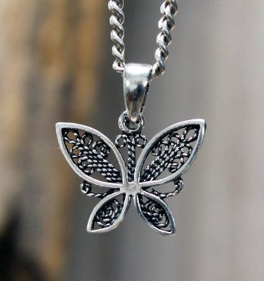hanger vlinder zilver 8 x 16 mm