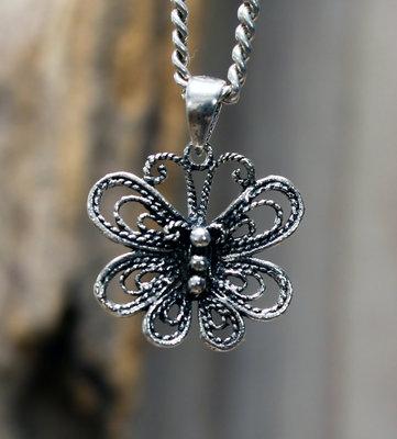 hanger vlinder zilver 15 x 16 mm