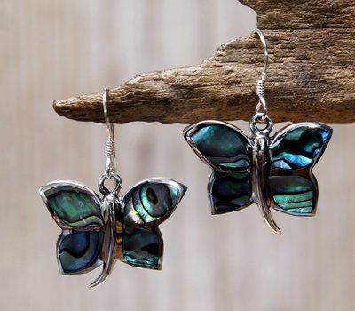 oorbellen vlinder zilver abalone