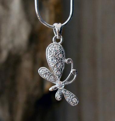ketting vlinder hanger zilverkleur