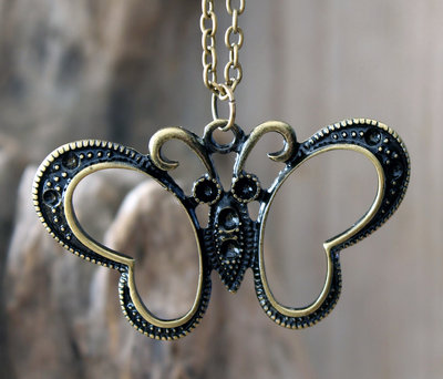 ketting vlinder hanger bronskleur