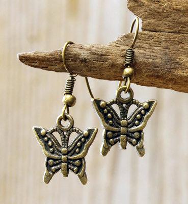 oorbellen vlinder bronskleurig