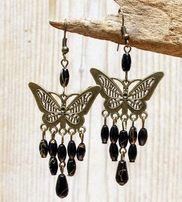 oorbellen vlinder zwart