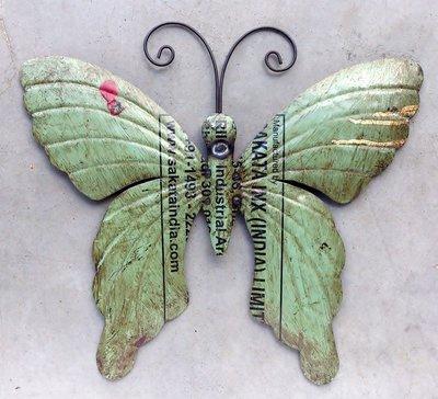 wanddeco vlinder 'old iron' groen 37 cm