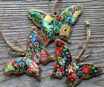 hangdecoratie vlinder 'flower power' per 3 stuks