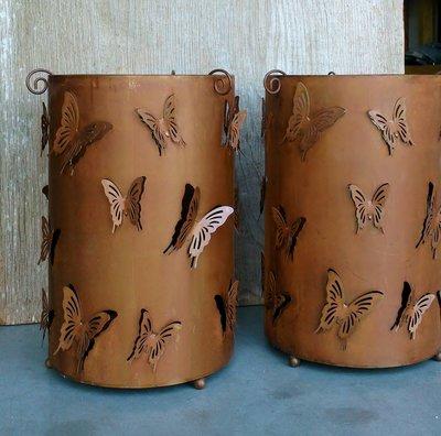 windlicht metaal vlinders