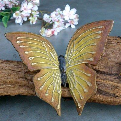 vlindertje brons okergeel 12 x 14 cm