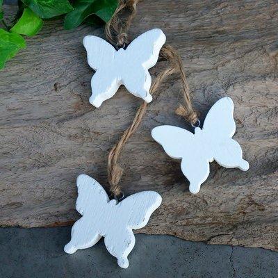 hangdecoratie vlindertjes hout wit set met 3 stuks