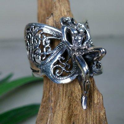 ring vlinder elfje zilver