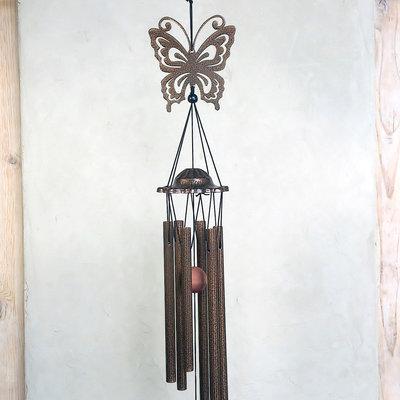 windgong met vlinder bruin-zwart