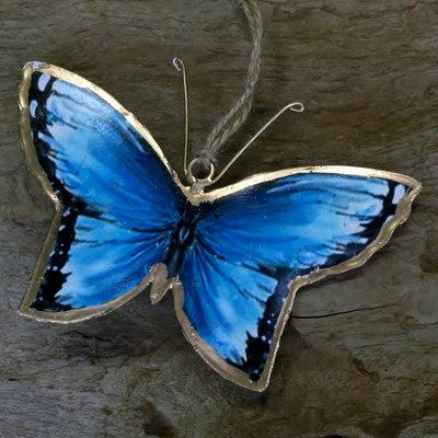 hangdecoratie vlinder metaal blauw