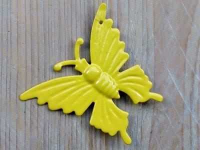 hangdecoratie vlindertjes geel per 6 stuks