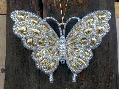 hangdecoratie vlinder zilver/goud