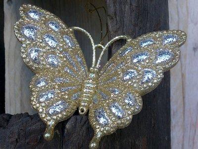hangdecoratie vlinder goud/zilver