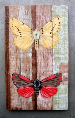 schilderij sloophout vlinders 25x40cm