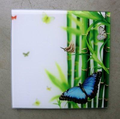 glasschilderij vlinder + bamboe 20x20cm