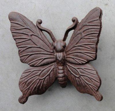 wanddeco vlinder gietijzer 15x15cm