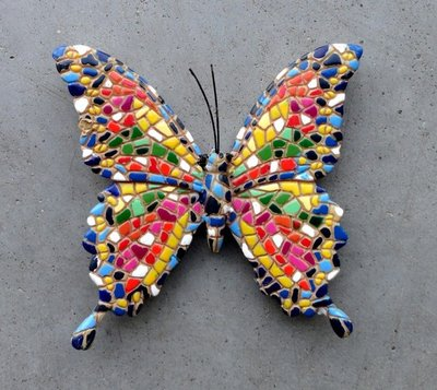magneet vlinder mozaiek 8x8cm