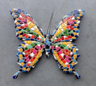 wanddeco 20 cm vlinder mozaiek 29926