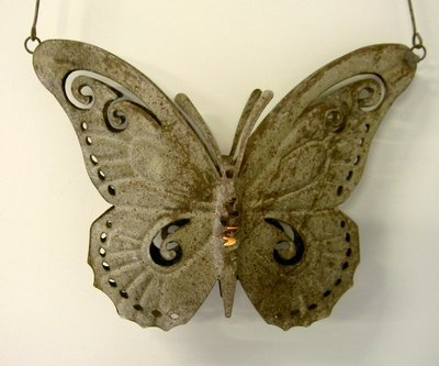 hanglantaarn vlinder antiek-bruin
