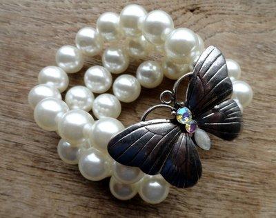 armband vlinder parel