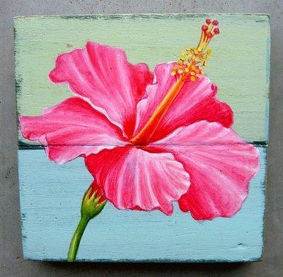 schilderijtje sloophout bloem sch1-a12