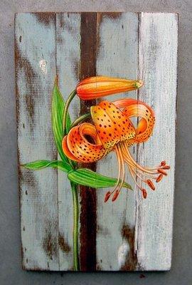 schilderij sloophout bloem 25x40cm