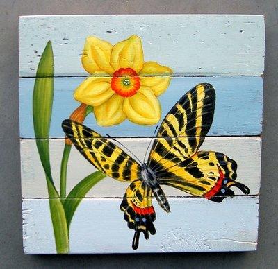 schilderij sloophout vlinder 20x20cm