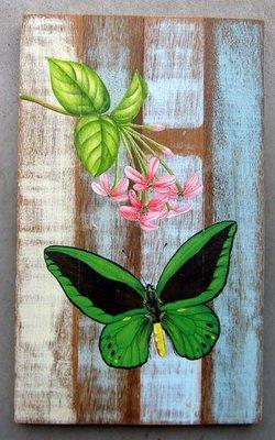 schilderij sloophout vlinder 25x40cm
