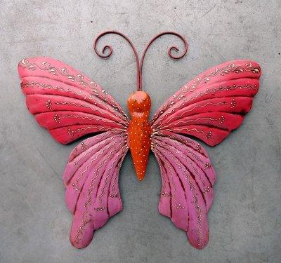 wanddeco vlinder metaal 'pink' 38 cm