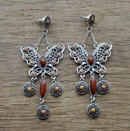 oorbellen vlinder bruin