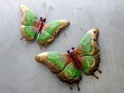 wandddeco vlinder metaal groen 37cm/50 cm v.a.