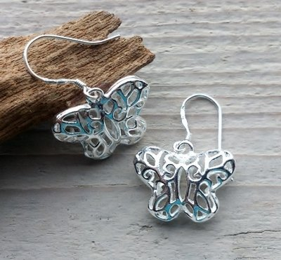 oorbellen vlinder zilverkleur
