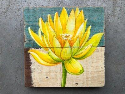 schilderijtje sloophout bloem 11x11cm