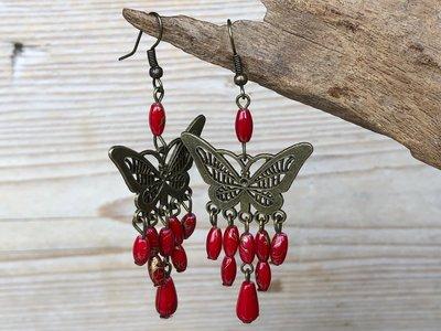 oorbellen vlinder rood