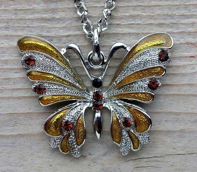 ketting vlinder hanger geel
