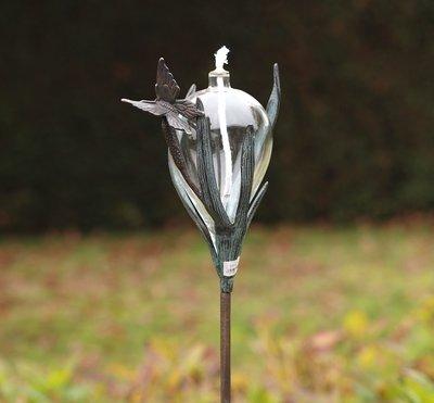 olielamp met vlinder - brons en glas