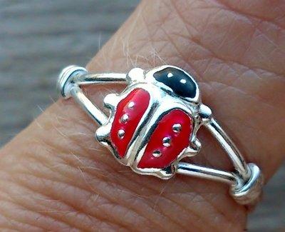 ring lieveheersbeestje echt zilver