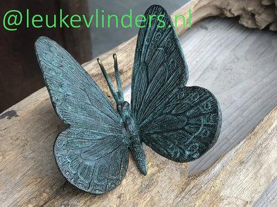 vlinder brons turkoois 8x10cm