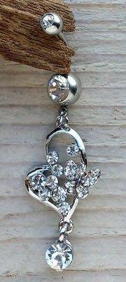 navelpiercing vlinder zilverkleur-kristal
